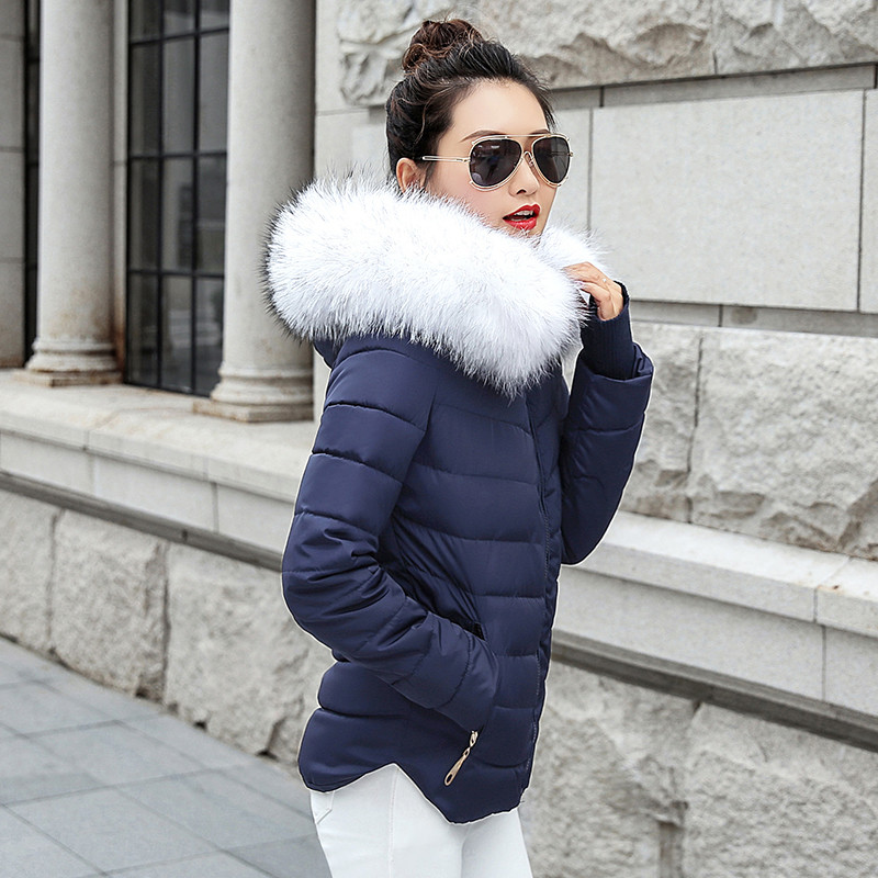 Jacket Women Female Hooded Snow-Wear New Winter Warm Thick Faux-Fur Long-Sleeve