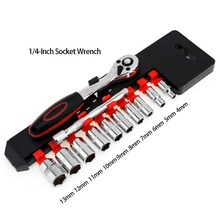 12Pcs 1/4-Inch Socket Wrench Set CR-V Drive Ratchet Wrench Spanner for Bicycle Motorcycle Car Repairing Tool Set Common Sockets 12pcs cr v socket wrench set with 1 4 drive ratchet spanner multifunctional combination household tool kit car repair tools set