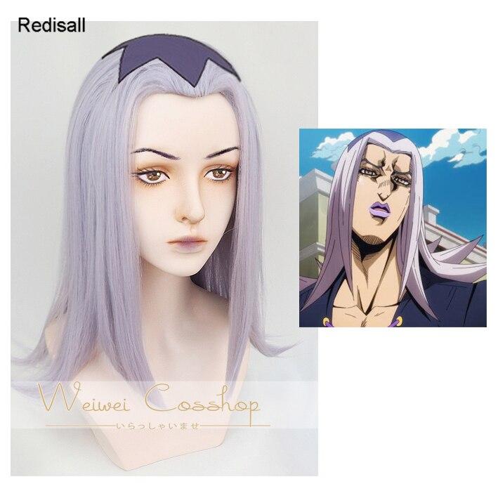 Leone Abbacchio Cosplay Wig JOJO's Bizarre Adventure Golden Wind Long Straight Light Purple Synthetic Hair For Adult