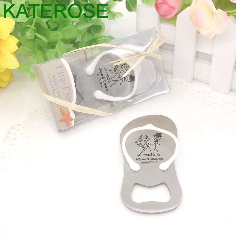 24PCS Personalised Flip Flop Bottle Opener in Gift Box Beach Themed Wedding Favors Bomboniere Customized Thong