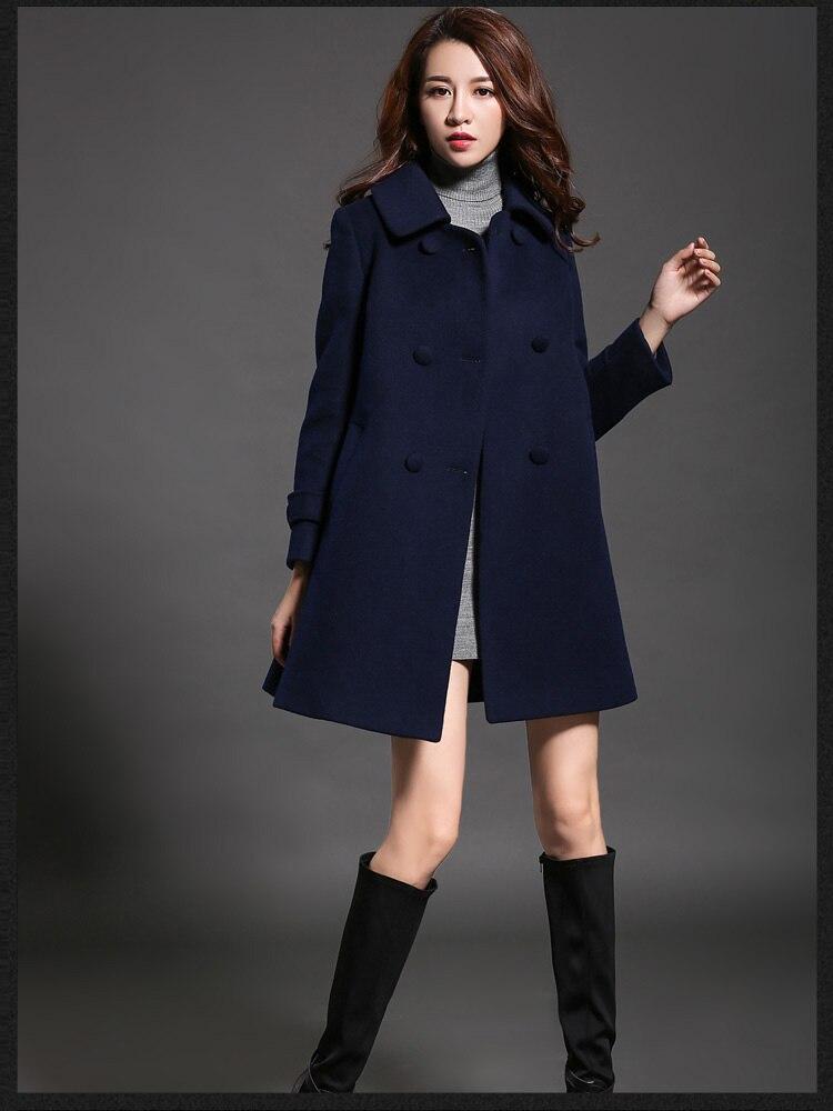 2018 delle donne di inverno cappotti doppiopetto in lana nero rosso blu scuro risvolto allentato stile di modo selvaggio con più di formato nuovo caldo vendita