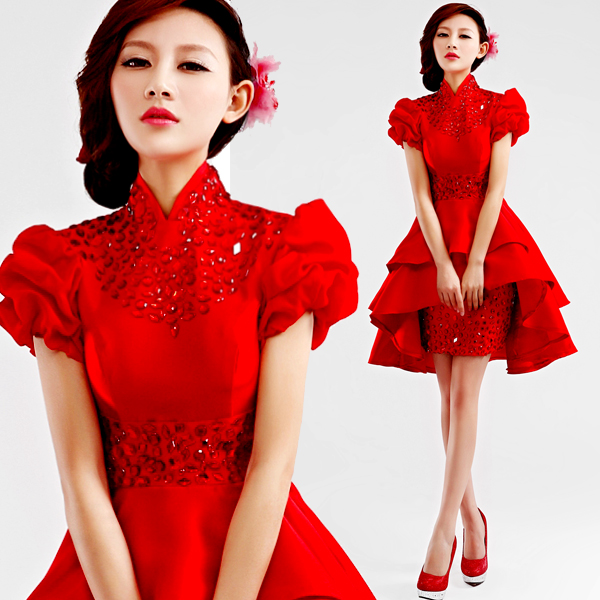Red Satin Bubble Dress Promotion-Shop for Promotional Red Satin ...