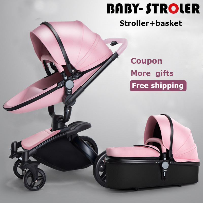 AULON Brand Baby Stroller 2 In1 Pram Landscope Folding Baby Carriage For Child From 0-3 Years Prams For Newborns Version 2018 2018 baby strollers brand baby 2 in1 pram baby carriage many colors for choice