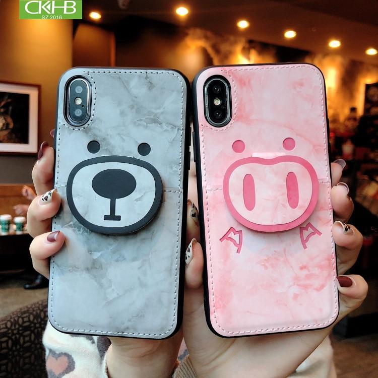 CKHB lindo mármol oso piggy, caso de la tarjeta para iPhone6S/6 SPlus/7/8/X/ XS/XR/XS MAX de la caja del teléfono móvil