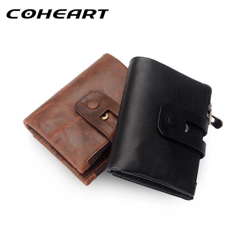 COHEART Brand Wallet Men genuine leather Top Quality men wallet purse small short wallet multifunction big capacity purse !