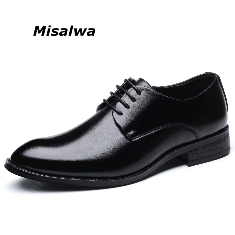 Misalwa hombres Derby clásico vestido zapatos de cuero negro ligero portátil cepillo suela en Toe Lace-up transpirable primavera zapatos