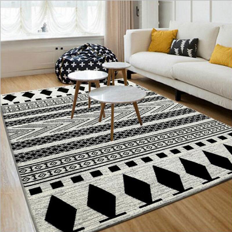 Noir blanc 130X190 cm européen moderne tapis et tapis de sol et tapis moderne anti-dérapant tapis pour salon chambre tapis