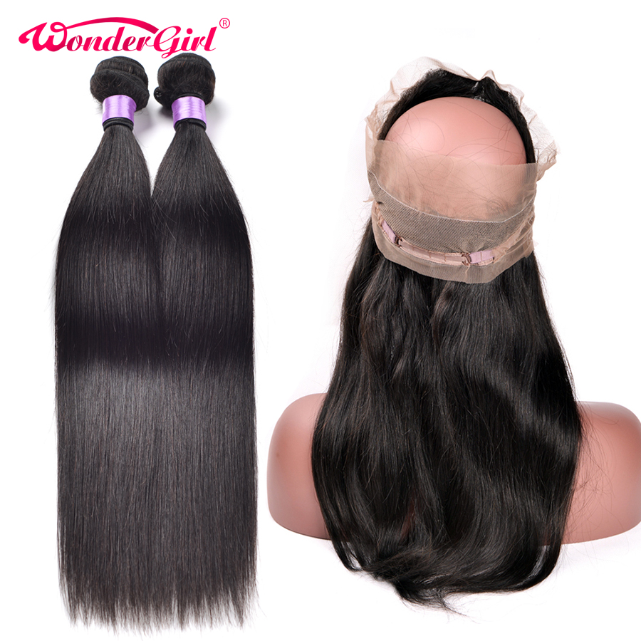 360 Lace Frontal With Bundle Peruvian Straight Hair Bundles With Closure Remy Human Hair 360 Frontal