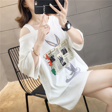 Plus Size T shirt Dress 2019 Summer Cartoon Medium Long Loose Korean Large Size Women Print Short-sleeve T-shirt Bare Shoulders long sleeve plus size palm print asymmetrical t shirt
