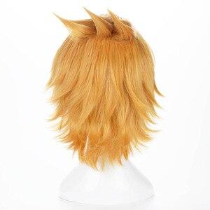 Image 4 - Peluca Boku no Hero Academia Kaminari Denki para hombre y mujer, disfraz de Cosplay de My Hero Academia, cabello sintético corto, pelucas de juego de rol para fiesta