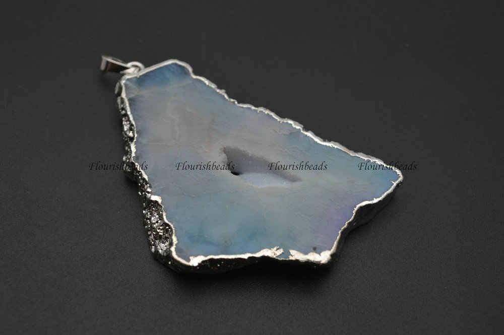 Geode Druzy Agate Big size Freeform Stone Slab Pendant Silver Plating