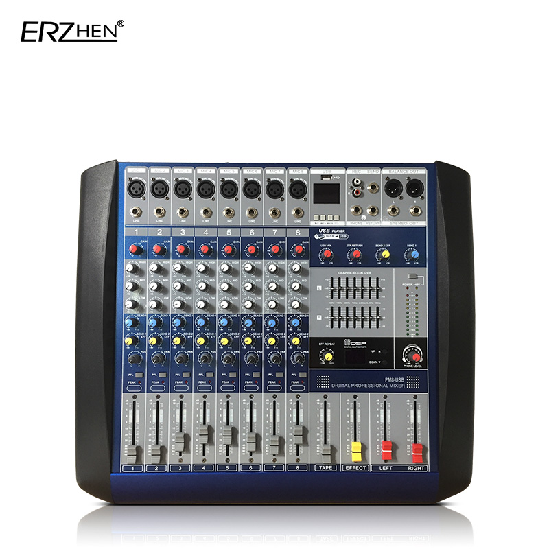 цена Audio Mixer Console W8000G8 Built-in amplifier Professional Mixer Audio Amplifier Sound Processor 8 Channel USB
