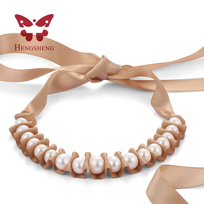 HENGSHENG Noble Big Natural 8-13mm Pearl Necklace For Women, Beautiful White Pearl With Gold Pink Black Ribbon Jewelry Necklaces