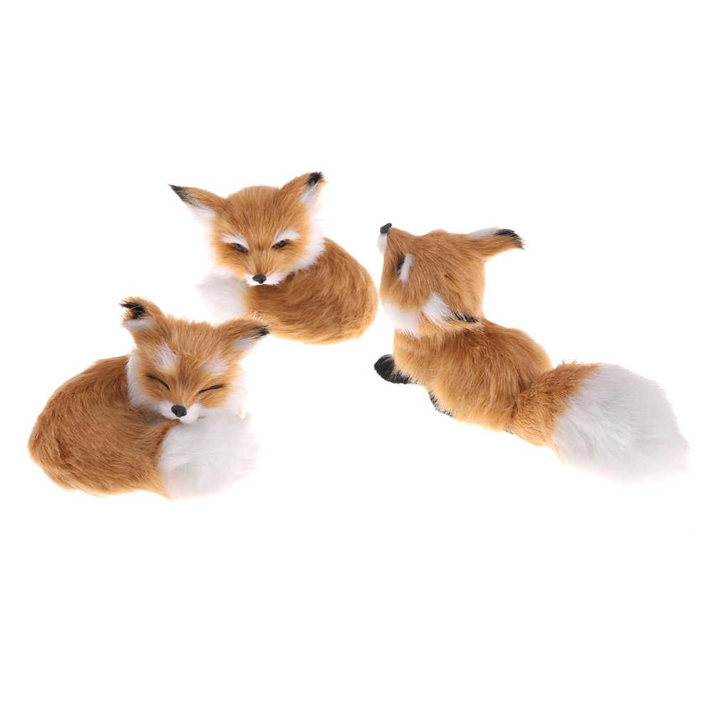 Sıcak satış kahverengi simülasyon tilki ev dekorasyon için doğum günü hediyesi polietilen kürk çömelme Model oyuncaklar