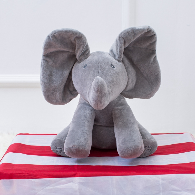 30cm New Peek a boo Elephant Stuffed Toy Soft Animal Toy Play Music Elephant Educational Anti-stress Toy For Children Baby Gift