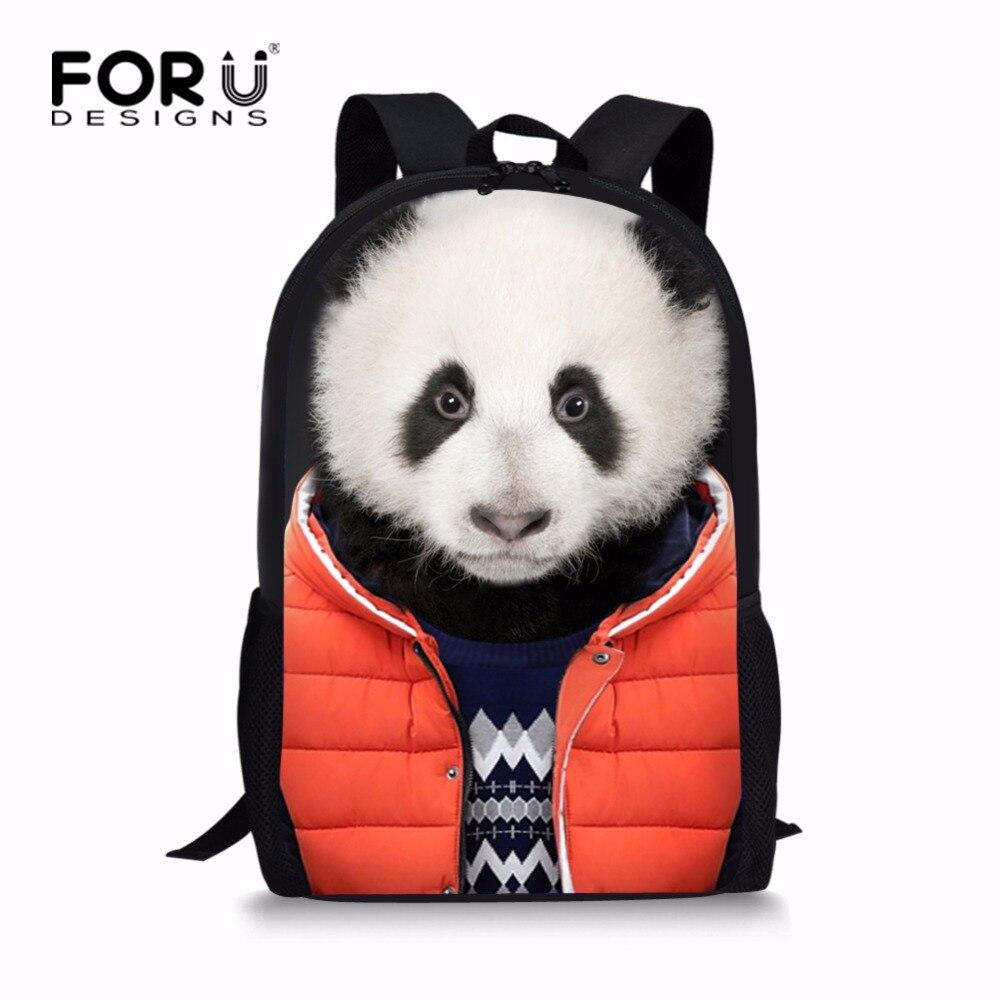 FORUDESIGNS Preppy Style Backpack for Princess Girls Cute Childrens Printing Panda Rottweiler School Bagpack Primary Kids Packs