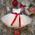 Primeiro Ano de Aniversário Recém-nascidos Fita Bebê Sem Mangas Menina Vestido De Baptizado Vestidos Projetos Bebê Recém-nascido Vestido Roupas