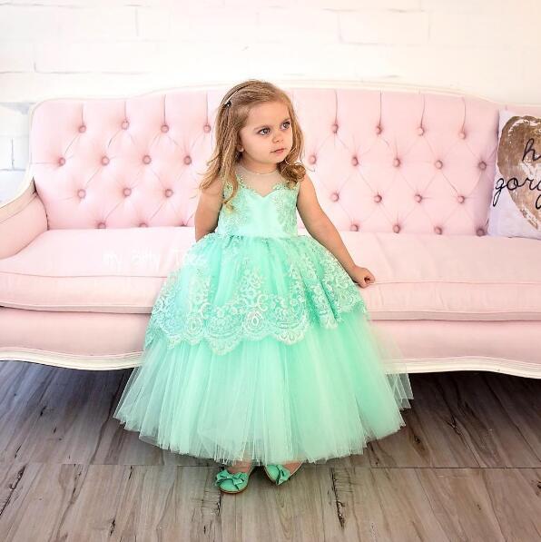 Belle menthe vert fleur fille robes dentelle broderie trou de serrure avec arc enfant tutu robe d'été pour la fête de remise des diplômes anniversaire