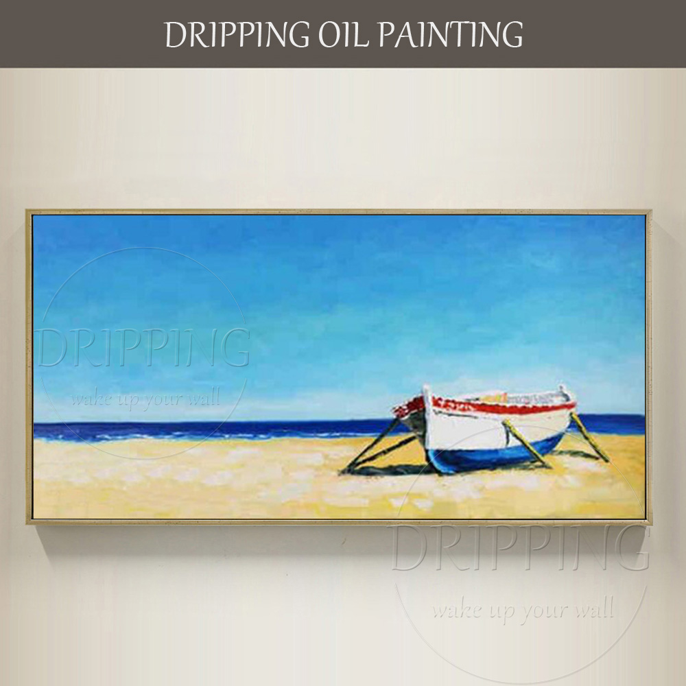 Hand Painted Impressionist Boat Oil Painting On Canvas Free Shipping