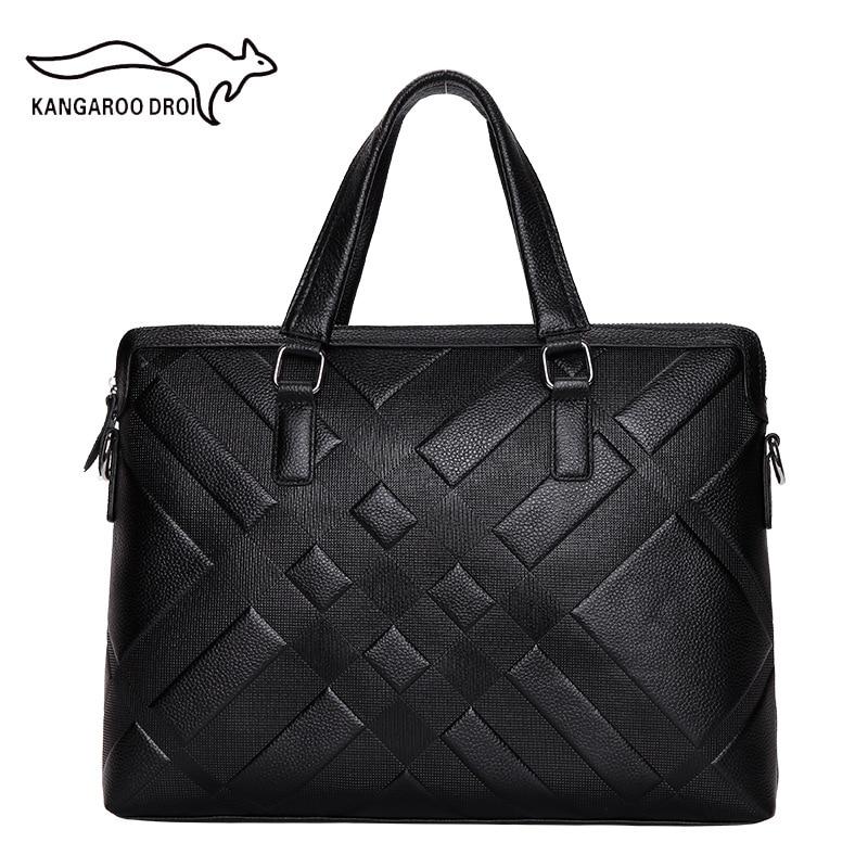 New Design Men Genuine Leather Business Briefcase Male Shoulder Corssbody Bag Casual Messenger Bag Laptop Handbag Travel Bag