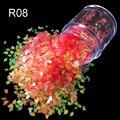 Dulces de colores traslúcidos UV herramienta de la Manicura uñas de los pies 2mm flash 7 Sol rojo Rombo de color nail art glitter powder R08