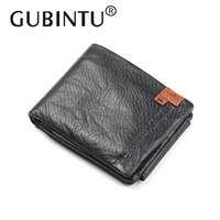 GUBINTU Real Genuine Leather Men Wallets Short Soft Coin Purse Luxury Male Card Holder Money Bag
