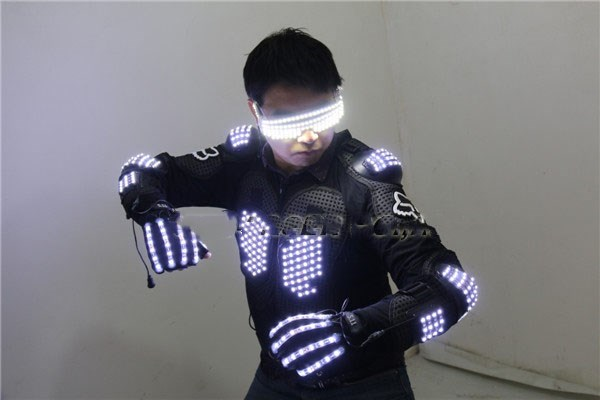 Free shipping High light flashing LED laser armor glasses gloves Suit LED luminous laser Costume Bar Party stage show props