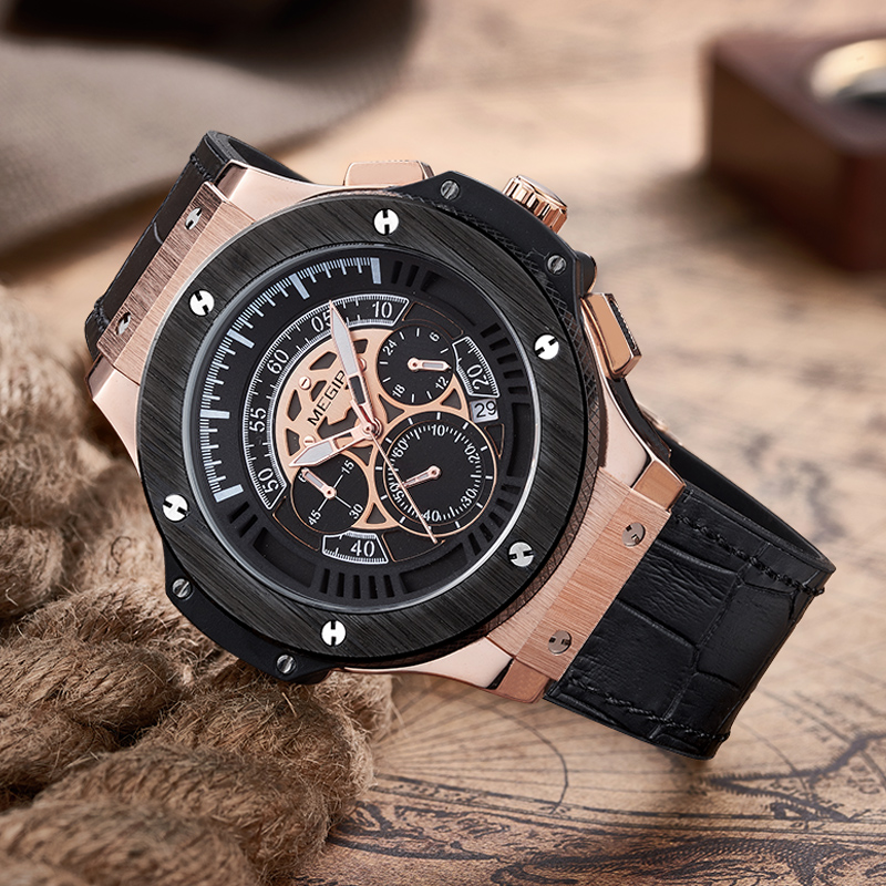 Megir Wrist Watch Men Leather Strap Quartz Wristwatches Waterproof Military Sport Chronograph Luminous Watches for Man