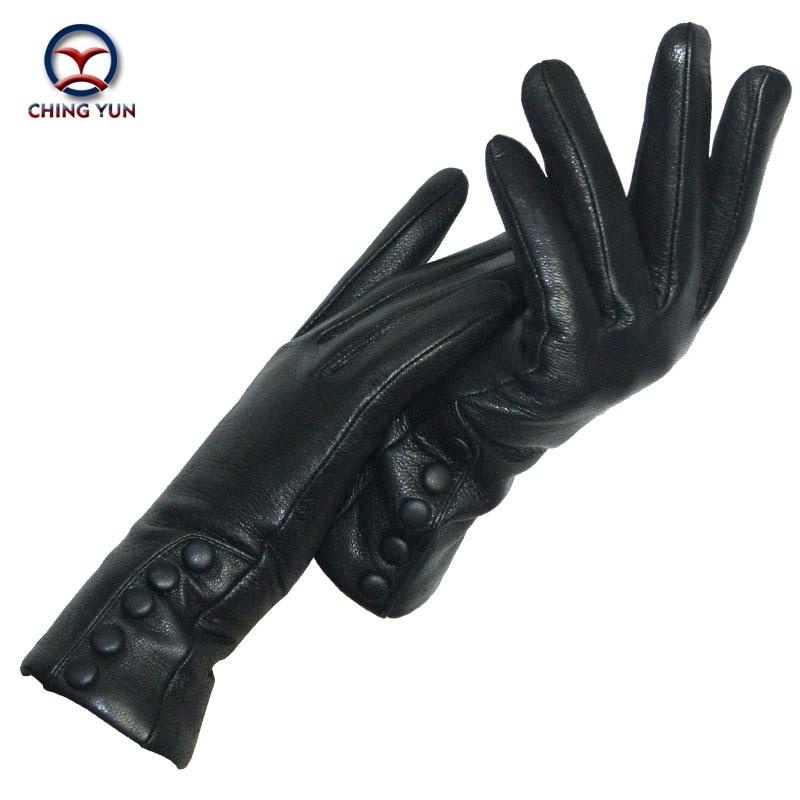 CHINGYUN New Women Genuine Glove Soft Thicken Bow Leather Gloves Winter Autumn Ladies Fashion Brand Black Warm Leather Fv02