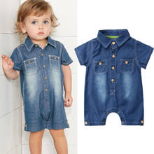 Summer New Baby Boys Girl Kids Denim Jumpsuit Blue Jeabs Romper Children Short Sleeve Playsuit Toddler Fashion Casual Outfits(China)