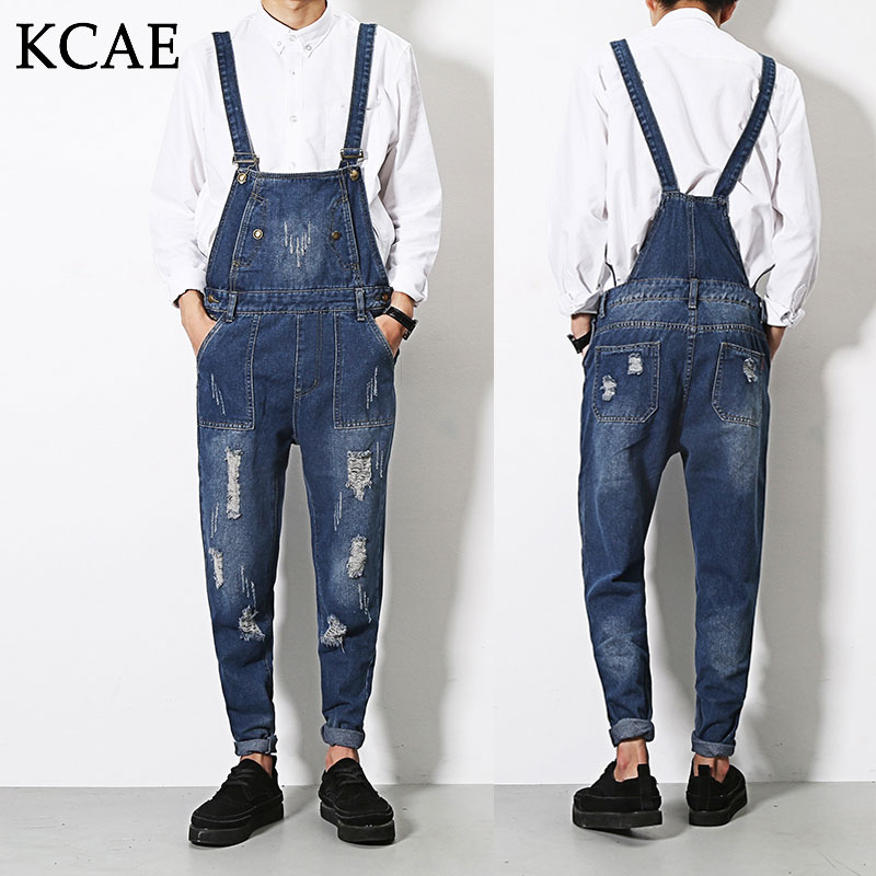 2016 Denim Overalls Male Suspenders Men's Ripped Brand Jeans Casual Hole Blue Bib Jeans Boyfriend Jeans Jumpsuit male denim overalls front pockets hole ripped bib jeans blue suspenders trousers or01
