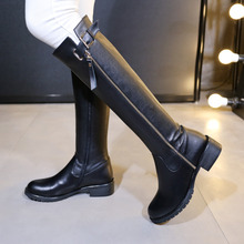 Women's Genuine Leather Double Zip Knee High Knight Boots Brand Designer Black Winter Long Boots for Women Female Footwear Shoes
