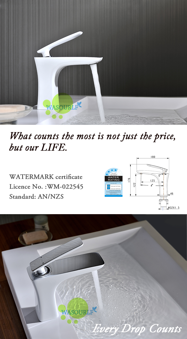 WASOURLF Basin mixer tap water faucet spout single hole brass white ...