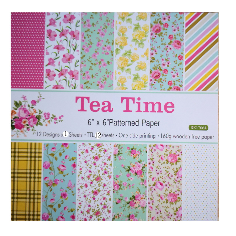 KLJUYP 12pcs Tea Time Scrapbooking Pads Paper Origami Art Background Paper Card Making DIY Scrapbook Paper Craft