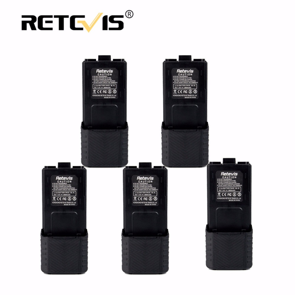 5 pcs Talkie Walkie Batterie 7.4 V 2800 mAh Li-ion Batterie BL-5L Pour Retevis RT-5R Pour Baofeng UV5R UV-5R UV5RE UV-8HX Pour TYT TH-F8