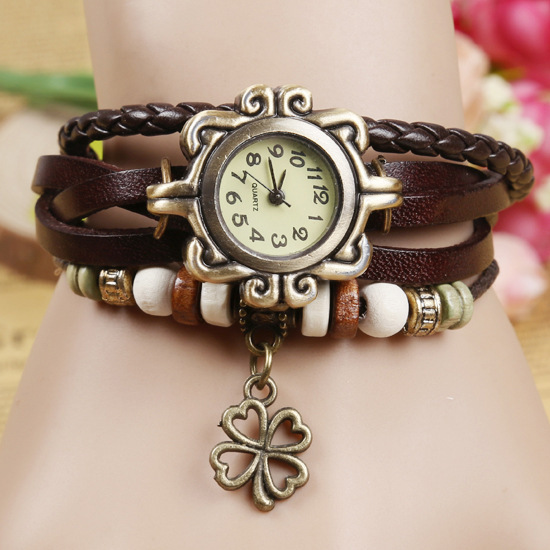 Fashion Women Bracelet Vintage Weave Wrap Quartz Cow Leather Clover Beads Wrist