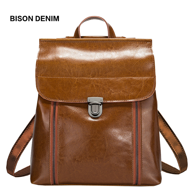 BISON DENIM Genuine Leather Women Bag Vintage School Backpack for teenage gir Oil Wax Cow Leather Shoulder Bag Hand bag N1488 33cm women backpack oil wax cow genuine leather backpack for teenage girls school large capacity shoulder bag brown tote mochila