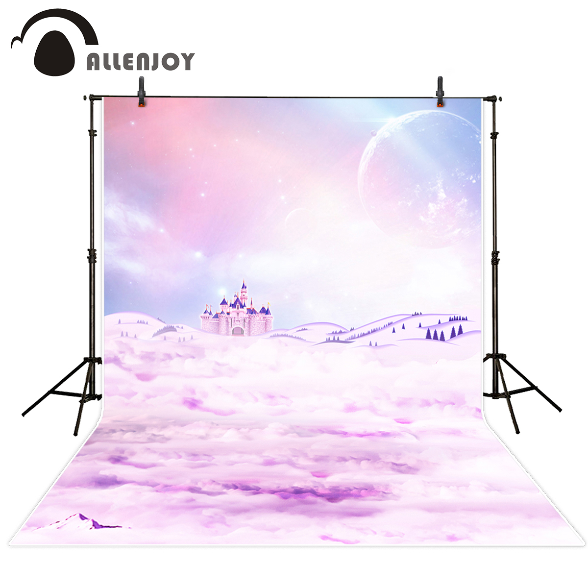 Allenjoy photography backdrop purple sky castle clouds fairy tale for girl background cartoon computer printing