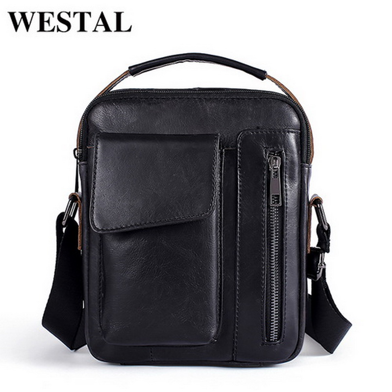 WESTAL Men's Bags Genuine Leather Flap Small Ipad Casual Male Messenger Bag Men Leather Shoulder Bag for men Crossbody Bags 8211 westal casual messenger bag leather men shoulder crossbody bags for man genuine leather men bag small flap male bags bolsa new