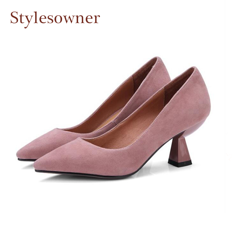 Stylesowner spring new genuine leather women pumps pointed toe strange high heel dress shoes solid color concise lady work shoes 2017 new sexy pointed toe high heel women pumps genuine leather spring summer shoes woman fashion dress party casual shoes pumps