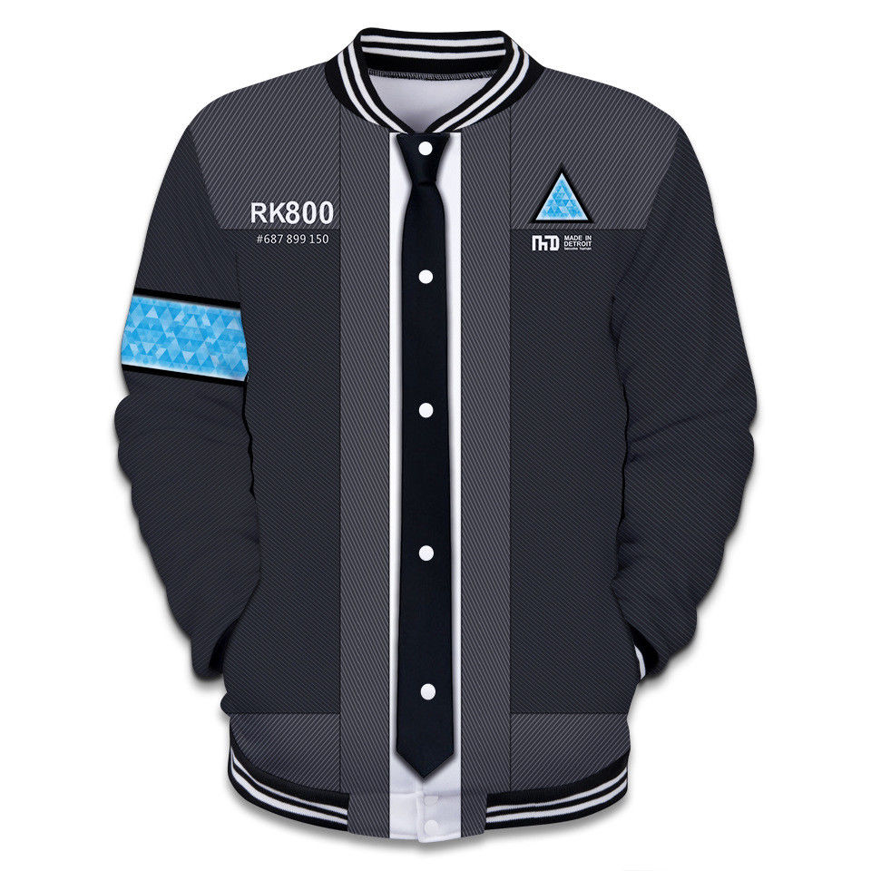 2018 Game Detroit: Become Human Connor RK800 Hoodie Sweater Sweatshirt Coat 3D Printed Hooded Hip Hop Jacket Cosplay Costume