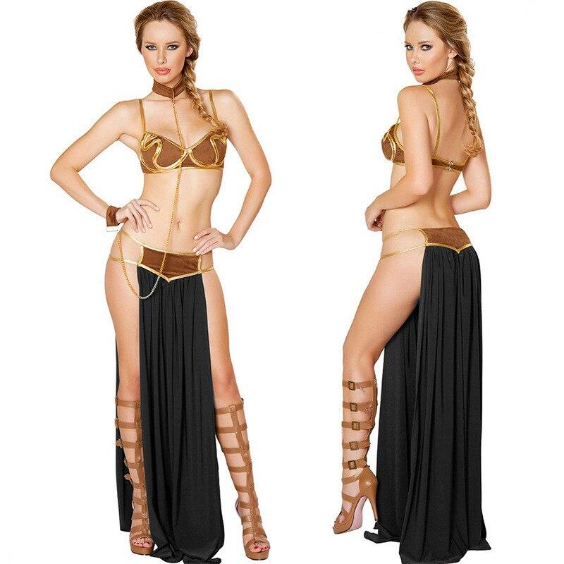 Cosplay Kostüme Prinzessin Leia Slave Bh + Rock Schwarz & Braun Frauen Sexy Party Anime Halloween Kostüm Ägyptischen Stil
