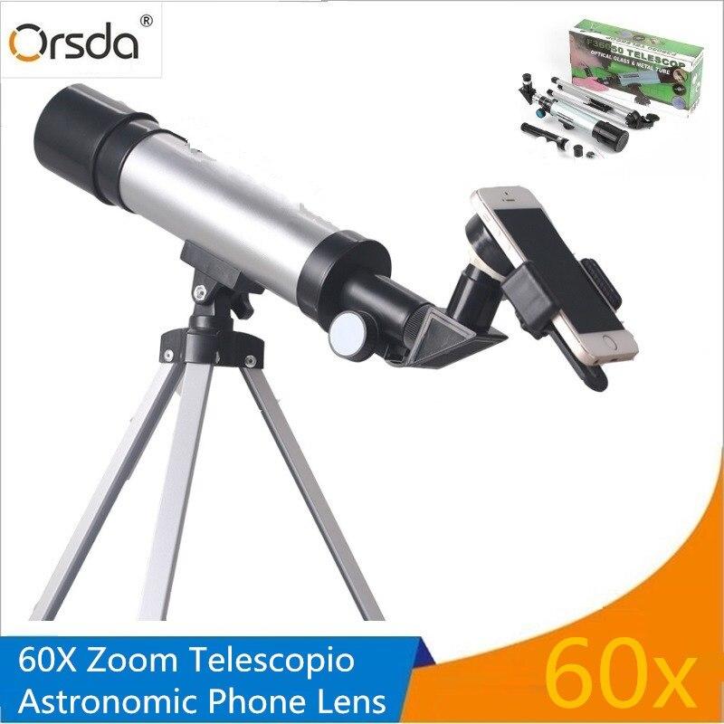 Orsda Monocular 30x 60X Zoom astronómico Moblie teléfono Cámara lente HD Telescopio teleobjetivo lentes de Clip Smartphone lente