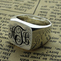 Silver Monogram Square Ring Personalized Initials Ring Engraved Monogram Name Ring Unique Vine Monogram Style Best Gift