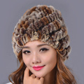 2016 Winter Beanies Fur Hat for Women Rex Rabbit Fur Solid Hot Sale Fashion Free Size Casual Women's Hat