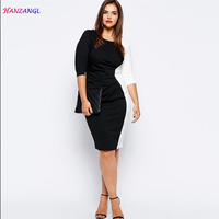HANZANGL Plus Size Women Clothing Spring Black And White Patchwork O Neck Work Office Dress Pencil