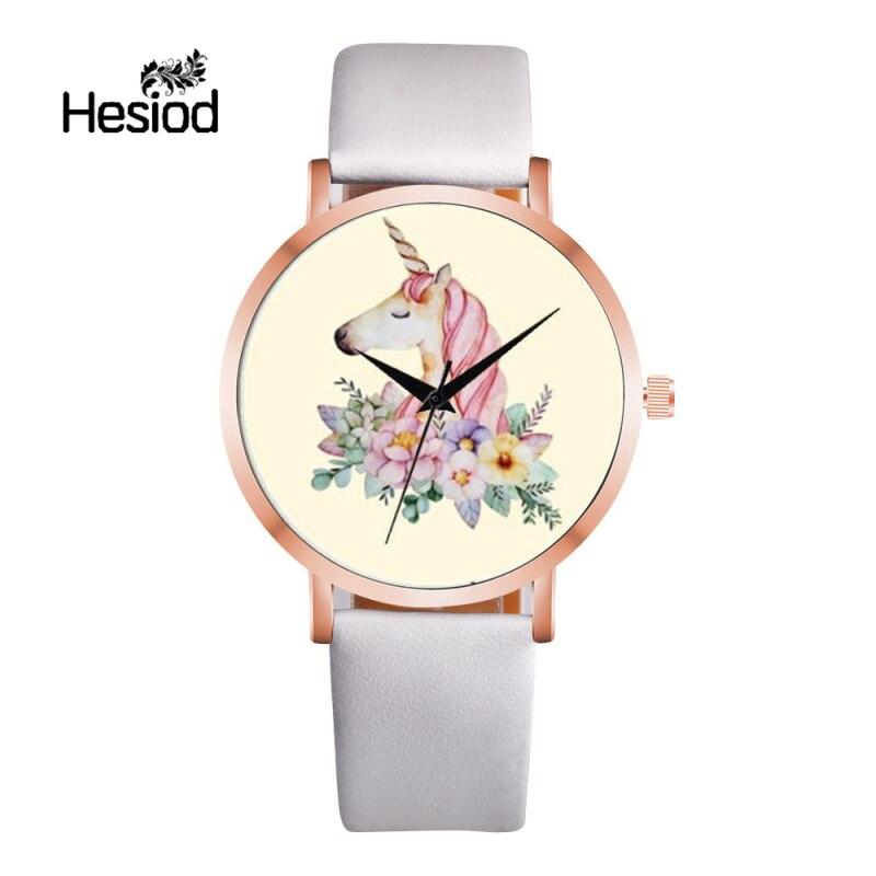 Hesiod Unicorn Girls Women Fashion Casual Watch Leather Strap Luxury Brand Quartz Female Watches