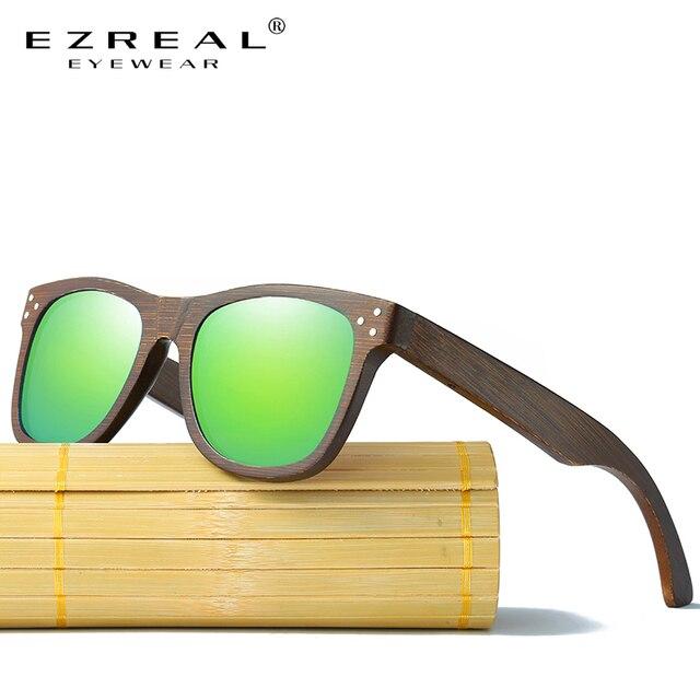 52dea5b33 EZREAL الحقيقي نظارة شمسية خشبية الاستقطاب خشبية نظارات UV400 الخيزران  نظارات شمسية ماركة نظارات شمس بإطار