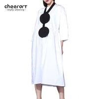 Cheerart Orijinal Kadın Artı Boyutu Düz Renk Gevşek Kısa Elbise Bilek Kollu Midi Elbise Kore Moda Giyim 2017 Boy