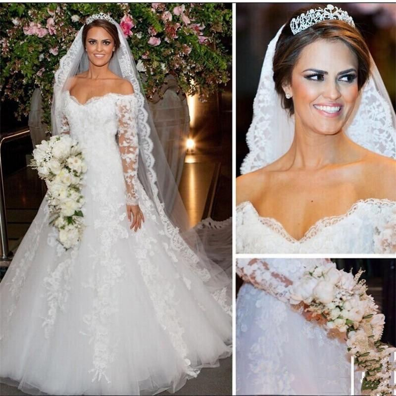 Boat Neck Long Sleeve Wedding Dresses 2016 Elegant Beaded: Luxury 2016 Sexy Boat Neck White Long Sleeve Beaded Lace A